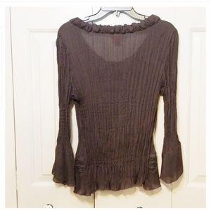 Sunny Leigh Tops - Sunny Leigh Accordion brown blouse